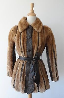 Vintage 70s Brown Genuine Real Mink Fur Leather Stripe Coat Jacket Cool Lining S