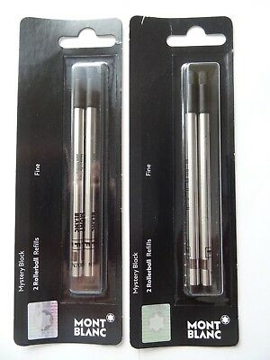 2 Packs, GENUINE MONTBLANC Rollerball Pen Refills - MYSTERY BLACK - FINE POINT