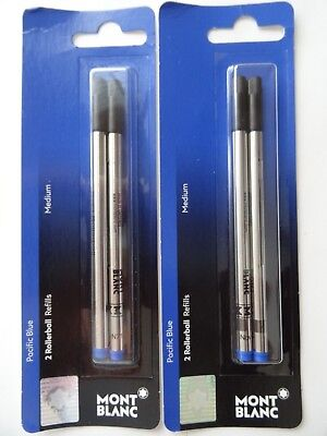 4 X GENUINE MontBlanc Medium ROLLERBALL Refills Pacific Blue Ink RETAIL PACK NEW
