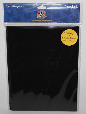 NEW Disney Parks Pin Trading Binder Album 5 Pages /Dividers Refills World 3 Ring