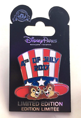 Walt Disney World Chip N Dale 4th Of July 2017 Pin LE 5000 and card Forth New