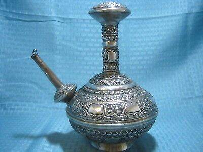 Large Antique 19th Century Islamic Malaysian Silver Embossed Kendi Pitcher