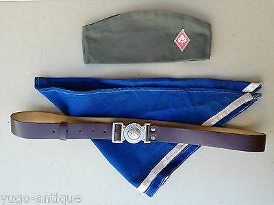 Communist Yugoslavia 1970s 1980s Scout Association ORIGINAL belt, hat & necker