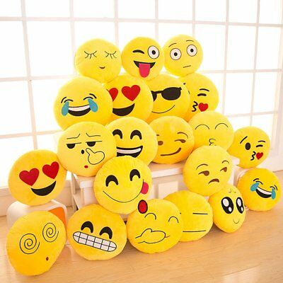 "Yellow Emoji Pillow12"" Round Cushion Soft Emoticon Stuffed Plush Toy Doll US MA"