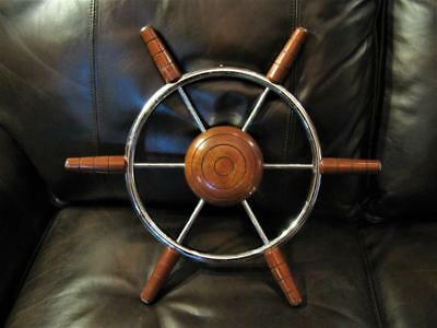 Stainless Steel and Wood 18 inch Authentic Boat Ships Wheel Sailboat Décor