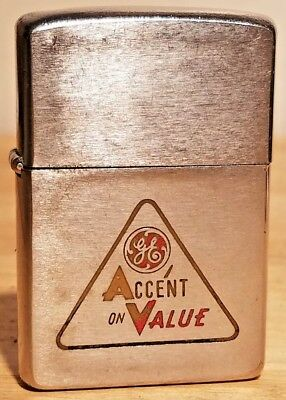 Vintage Zippo Lighter 1962 General Electric GE Logo Advertising  ACCENT ON VALUE