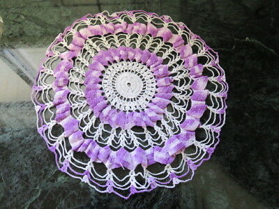 "Vintage  Doily - Purple -  White - 12"" Diameter"