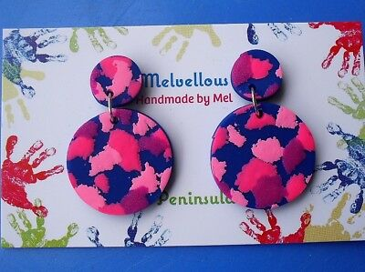 Navy and pinks Dangle earrings Melvellous polymer clay