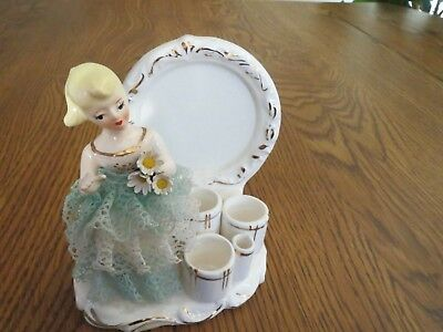 Vintage Blonde Lady Lipstick Brush Holder W Flowers Starched Ruffled Skirt
