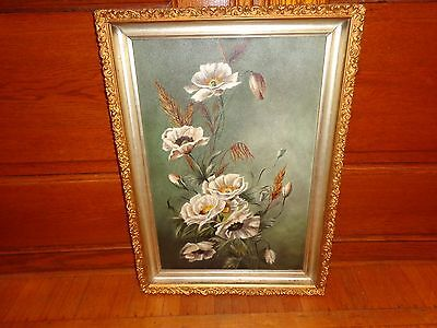 Late 19th. Early 20th.c Oil on Masonite Painting of White Flowers, Antique