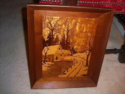 Vintage Wood Marquetry Inlay Picture-Winter Scene/Gristmill-Beautiful Wood Used
