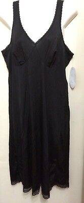 New Black Full Slip With Black Lace  Georges Lingerie Size 16