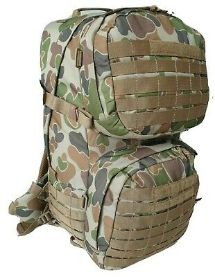 TAS Combat 45L Auscam MOLLE Backpack - UTX Buckles SBS Zips - Air Mesh Harness