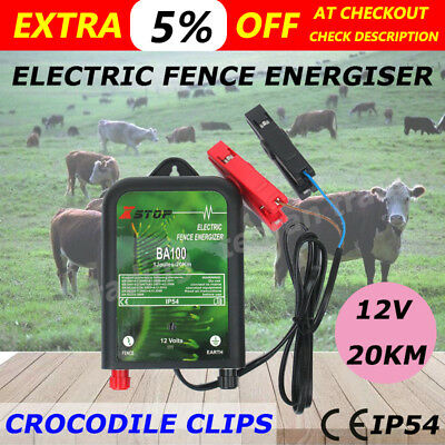 NEW 20km Electric Fence Energizer Energiser Charger 12 Volt Poly Wire Tape Posts