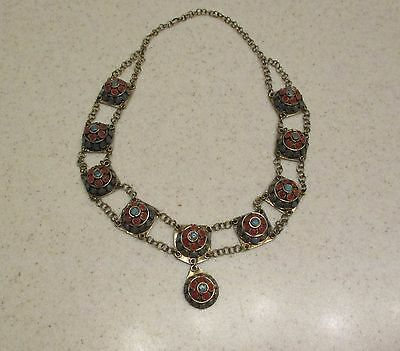 Vintage Hand Made Antique Glass Inlaid Afghan Turkish Ethnic Tribal Necklace