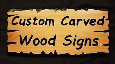 """Custom Carved Wood Signs - Made To Order Your Text - CEDAR - 12"""" x 5"""" Approx"""