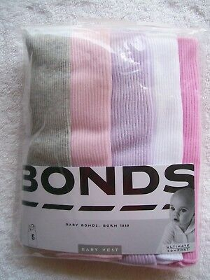 BNIP Baby Girl's Bonds 5 Pack Grey, Pink, Purple & White Singlets Size 0