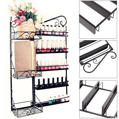 5 Tier Nail Polish Rack Organizer Wall Mounted Cosmetic Display Holder Black