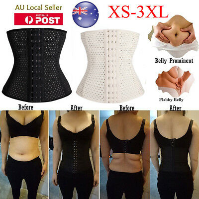 AU Women Waist Trainer Body Shaper Corset Tummy Cincher Training Slimmer Sports