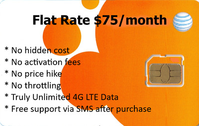 AT&T TRIPLE CUT Sim Card with Unlimited LTE Data No Throttling option
