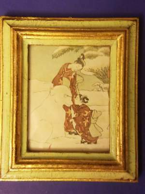 "Vintage Antique Japanese Print on Silk Wall Hanging Art Artwork 4.5x5.25"" Italy"