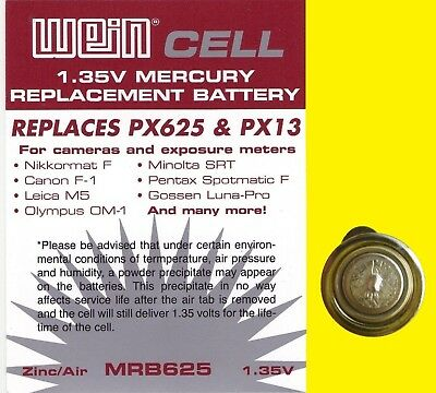 Wein Cell MRB 625 original 1.35 V zinc/air battery - replaces PX 625 PX13 MR9