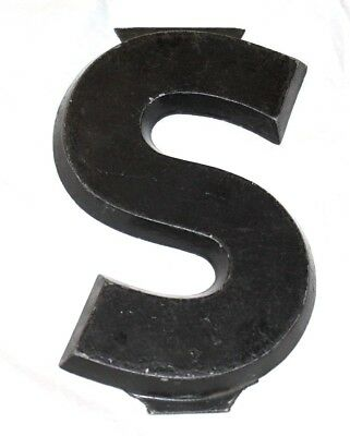"RARE Vintage ADLEB Sign Cast Aluminum 8"" Drive In Movie Theater Marquee Letter S"