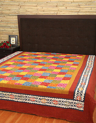 Patch Work Double Bed Cover Multi Handmade Indian Abstract Bedsheet Bedspreads