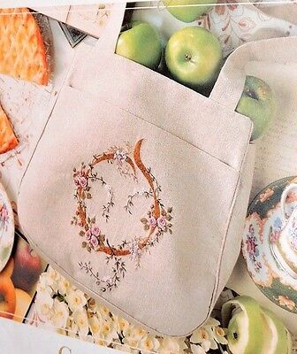 Linen Bag Tote Crewel Embroidery Inspirations Rose Kit Fabric Cotton Pattern Big