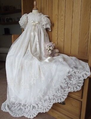 Lace Christening Gown & Bonnet -  Heirloom Baptism Dress - Robe - Ivory & White