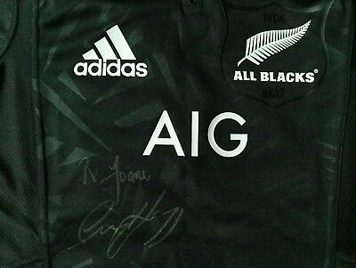 Bnwt Adidas New Zealand All Blacks 2017 Limited Edition Territory Jersey Signed