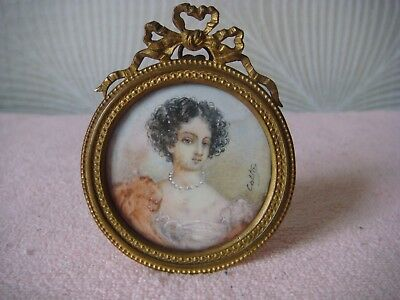 RRR RARE ANTIQUE BEAUTIFUL 19th CENTURY MINIATURE PORTRAIT PAINTING ,Signed