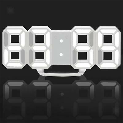 Large 3D Modern Display LED Wall Alarm Clock Snooze 12/24 Hour White+White