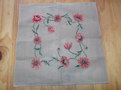 Unfinished Tramme Tapestry Canvas. Poppies