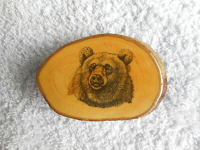 Unique Vintage Wooden Tree Grizzly Bear Head Men Belt Buckle Hunting Outdoors