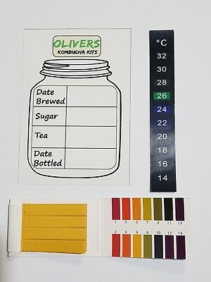 Kombucha Brewing Test Pack, Ph Strip, Temp Strip And Brew Log,  FREE POSTAGE!!!