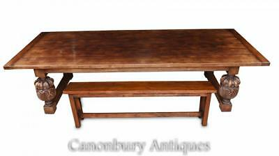 Large Refectory Table and Bench Farmhouse Kitchen Dining Set