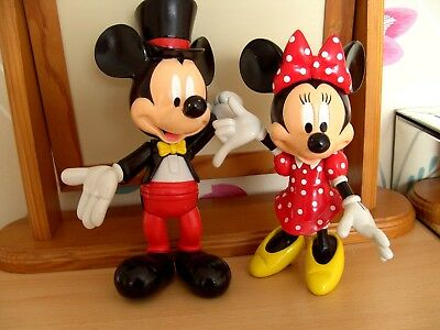 Rare Vintage Disney Mickey & Minnie Mouse Figures Top hat and tails 28 cm tall