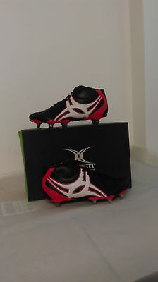 Clearance Line Gilbert Rugby Sidestep XV Hi Cut 8Stud Boot Black Red Sz 7