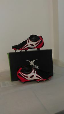 Clearance Line Gilbert Rugby Sidestep XV Hi Cut 8Stud Boot Black Red Sz 4