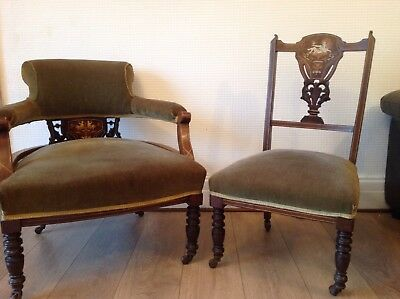 Antique Tub Chair And Matching Bedroom/Nursing Chair
