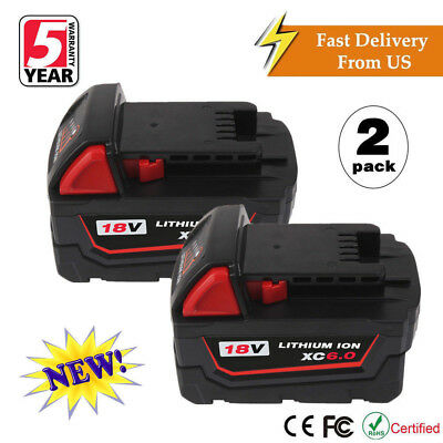 2 x 18V Lithium Ion XC 6.0 AH Replace Battery For Milwaukee M18 M18B4 48-11-1828