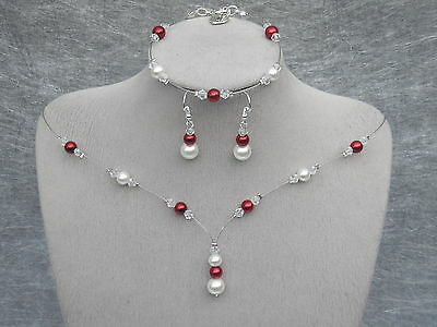 Coloured Pearl Crystal Silver Jewellery Necklace Set Bridesmaid Wedding 11C