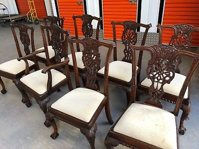 8 Antique Chippendale Chairs