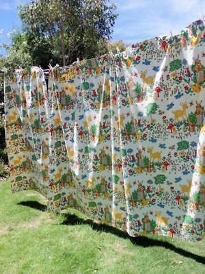 RETRO 70s VINTAGE Bambi Forest ANIMALS Nursery CHILDS Bedroom CURTAINS BlockOut