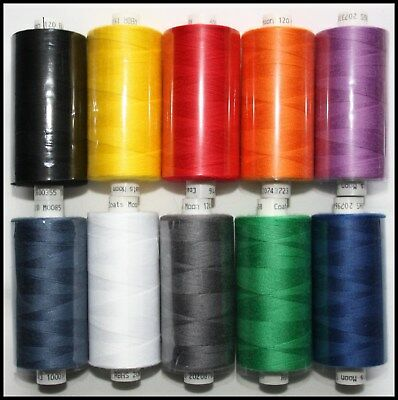 10 x MIXED COATS MOON SPUN POLYESTER MACHINE AND HAND SEWING THREAD COTTON