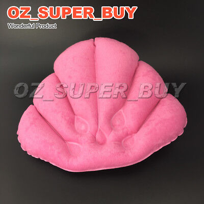 Pink Shell Shape Soft Inflatable Bath Pillow Terrycloth & Vinyl Covering