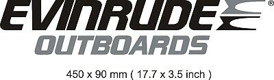 kit 2 stickers vinyl decal evinrude outboards black and silver grey 450 x 90 mm