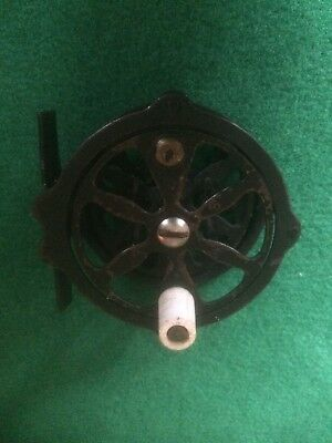 Vingage J.c.higgins (Usa) Skeleton Dry Fly Reel With Raised Pillars