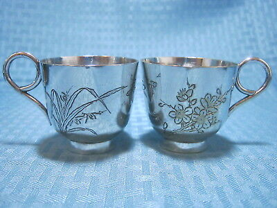 2 Antique Chinese Export Silver Tea Cup Marked